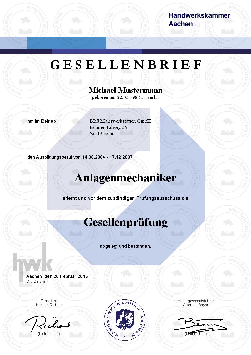Ausbildungsberufe Handwerksberufe Urkunden Von A Bis Z Berufszertifikate Diplome