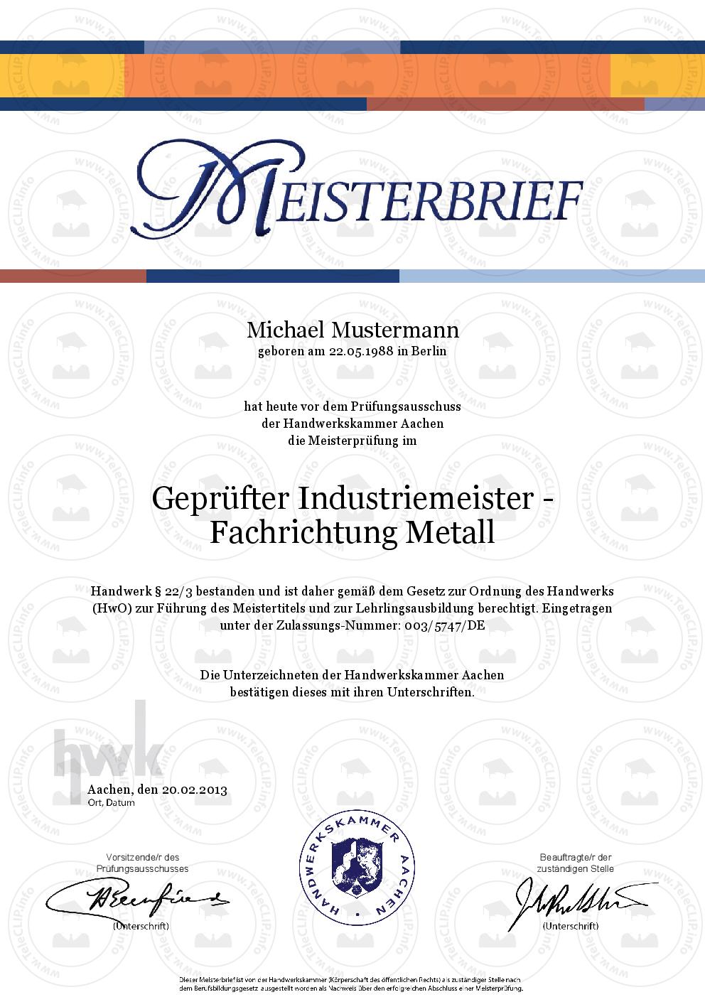 HWK Meisterbrief kaufen | Meisterprüfung online kaufen