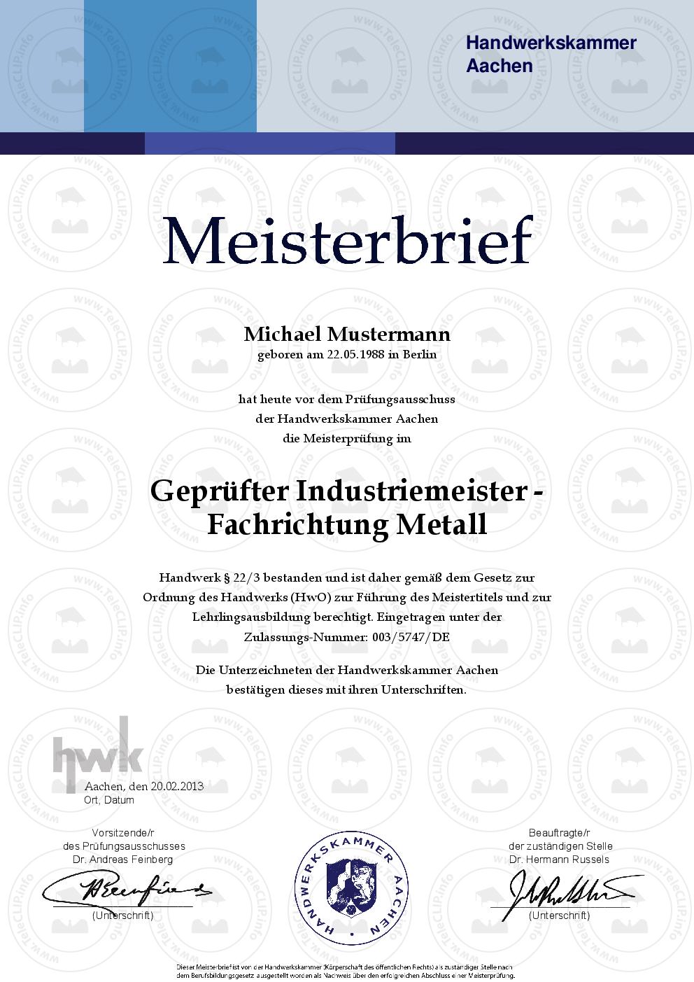 HWK Meisterbrief kaufen | Master Urkunde online kaufen