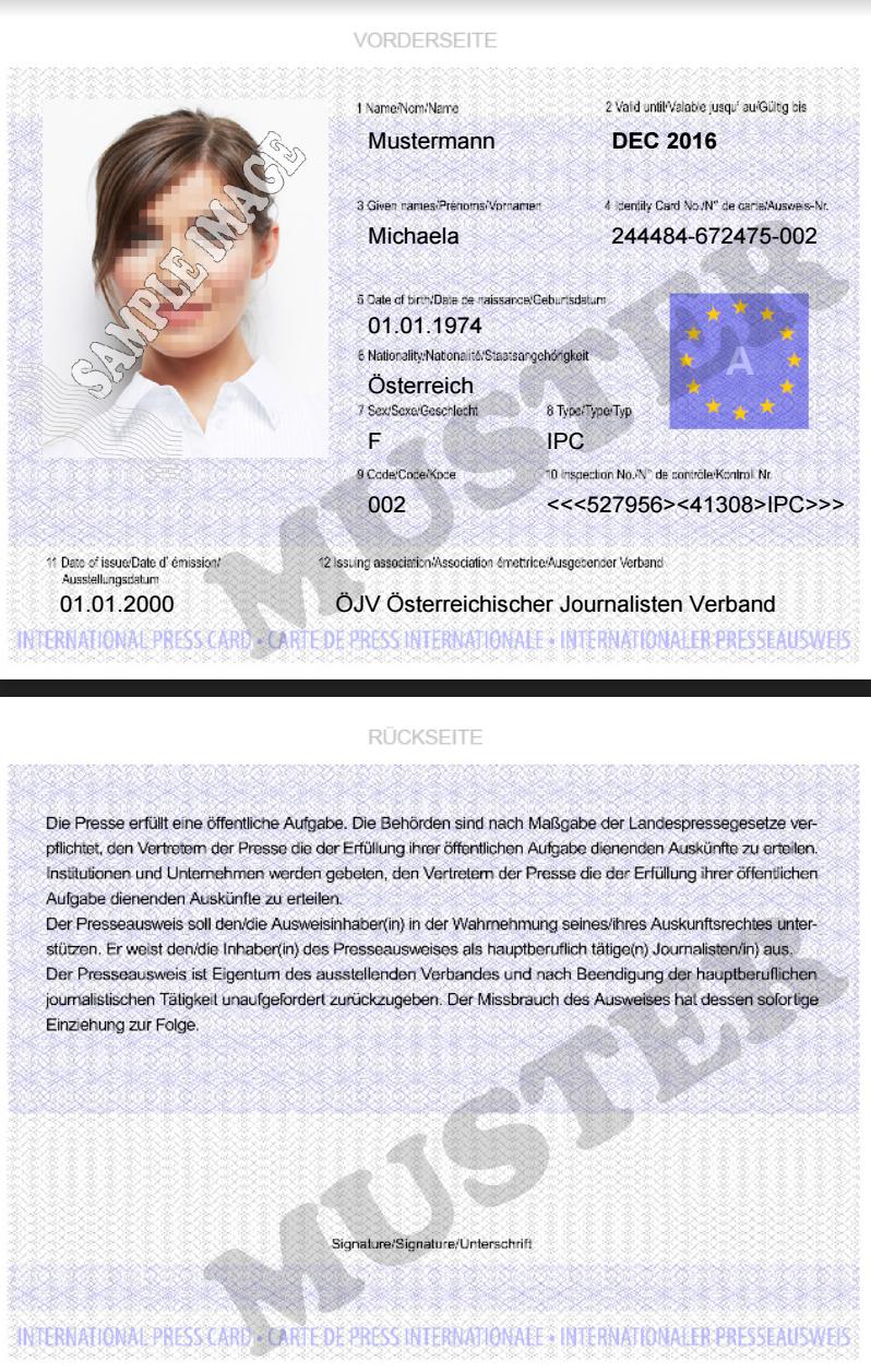 Presseausweis kaufen   ID Card Internationaler Presse Pass ...