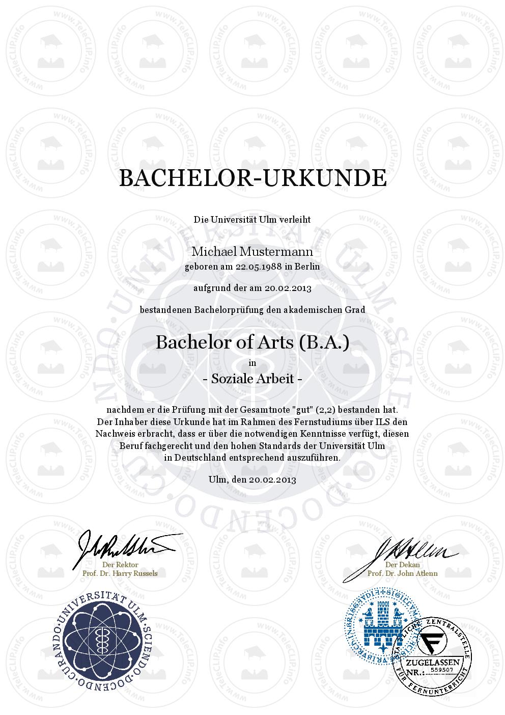 Bachelor-Urkunde einfach online kaufen | Universität Ulm