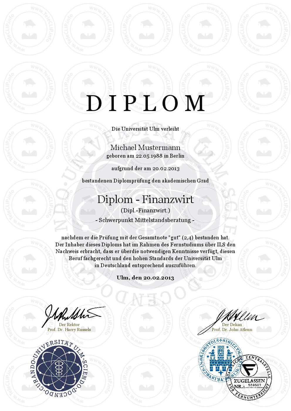 Diplom Urkunde einfach online kaufen   Universität Ulm
