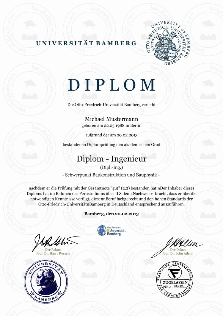 Diplom Urkunde kaufen | Otto-Friedrich-Universität Bamberg