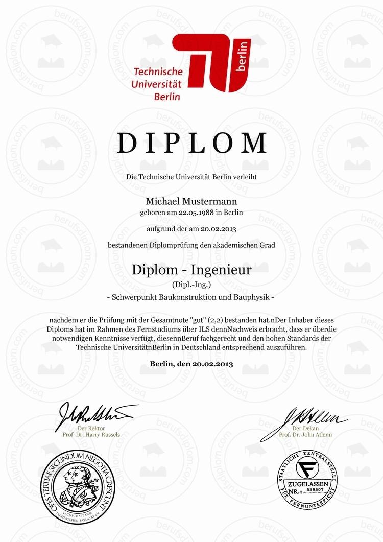 Berufsdiplom & Diplom kaufen | Technische Universität Berlin