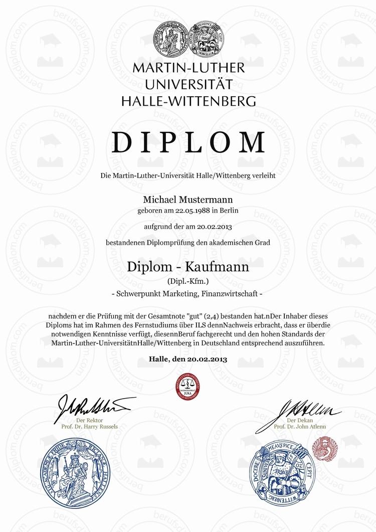 Diplom kaufen | Martin-Luther-Universität Halle-Wittenberg