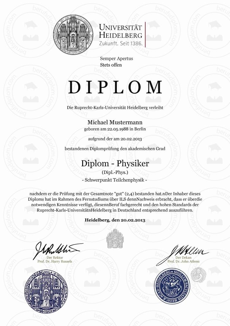 Diplom online kaufen | Ruprecht-Karls-Universität Heidelberg