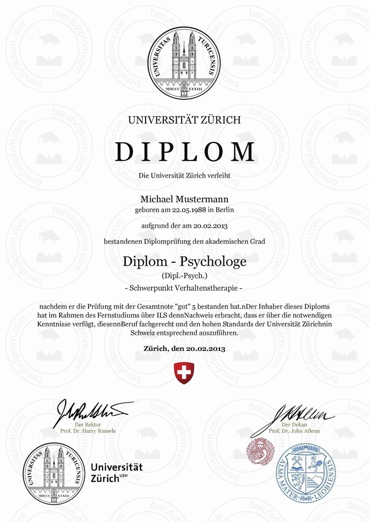 Diplom Urkunde online kaufen | UZH – Universität Zürich