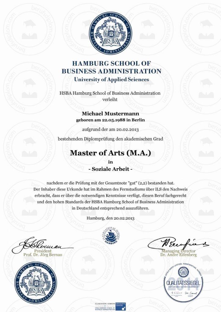 Master Urkunde kaufen | Hamburg School of Business Administration (HSBA)