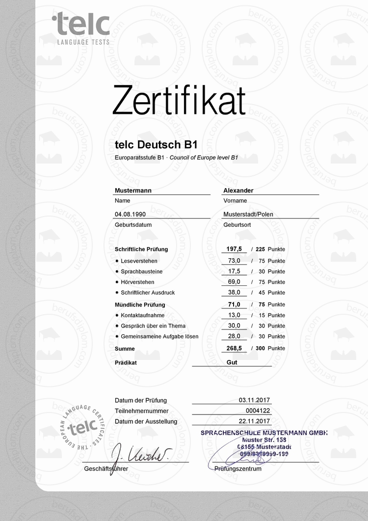Zertifikat TELC Deutsch B1 kaufen | Goethe Zertifikat B1 kaufen